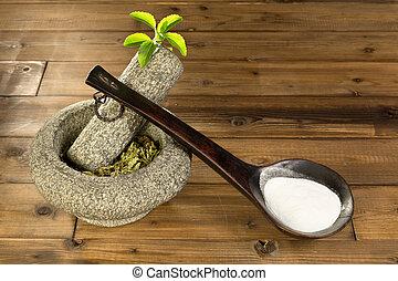 Stevia, polvo, secado, hojas