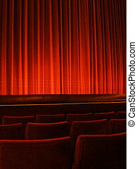 Red Theater Curtain - Red curtain hanging in an old theater...