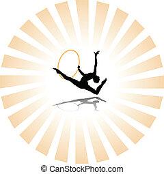 rhythmic gymnastics silhouette - vector rhythmic gymnastics...