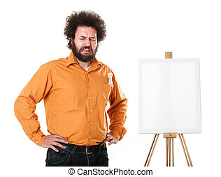 Bizarre painter crying - Guy in a bright, orange shirt,...