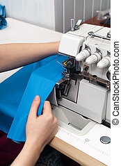 work at the sewing machine close-up