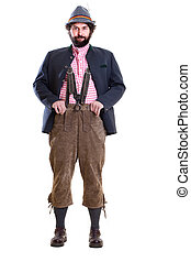 Bearded bavarian man in traditional clothing - Full body...