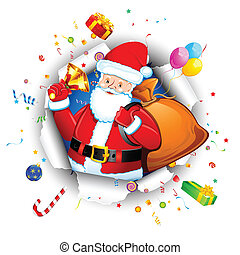 Santa with Goodies - illustration of santa claus with...