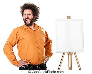 Weird painter in orange shirt - Guy in a bright, orange...