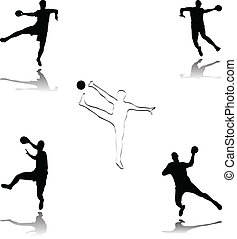 handball illustration - vector handball silhouettes...