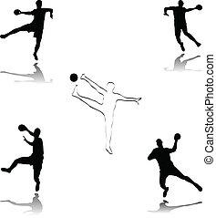 handball illustration - vector handball silhouettes...