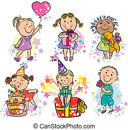 Illustration kids celebrating. Contains transparent objects....