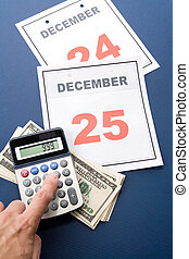 Christmas Shopping - Calendar Christmas day and dollar,...