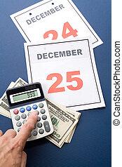 Christmas Shopping - Calendar Christmas day and dollar,...