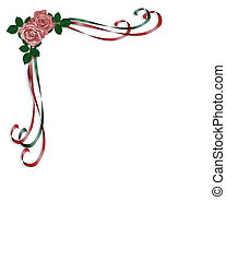 Roses and ribbons corner design - Design element for...