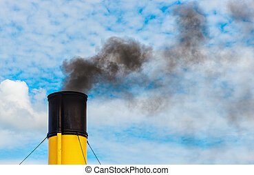 Chimney from steamboat with black smoke - Chimney from...