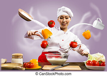 Asian female chef in the kitchen conjures - magician chef...