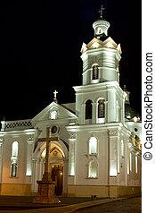 Colonial Church at night - Colonial church at night in latin...
