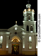 Colonial Church at night - Colonial church at night in latin...