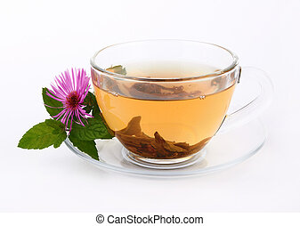 Cup tea - Cup of green tea on a white background