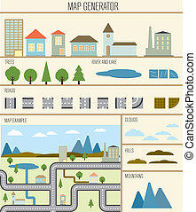 Map generator vector illustration design template