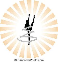 rhythmic gymnastics silhouet - vector rhythmic gymnastics...