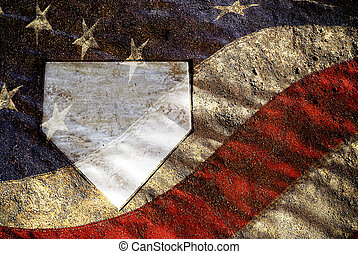 American Baseball - Home plate on baseball field with...