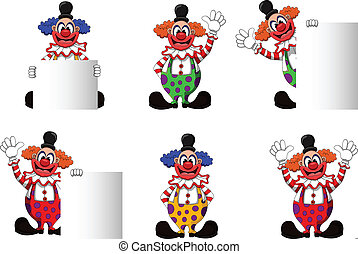 cute clown collection - vector illustration of cute clown...