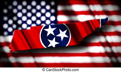Tennessee 03 - Flag of Tennessee in the shape of Tennessee...