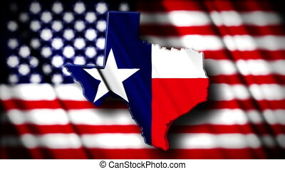 Texas 03 - Flag of Texas in the shape of Texas state with...
