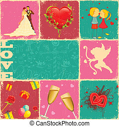 Love Collage - illustration of valentine collage with love...