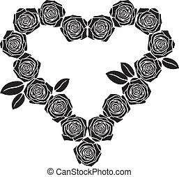 Rose heart - Valentine of roses silhouettes with leaves