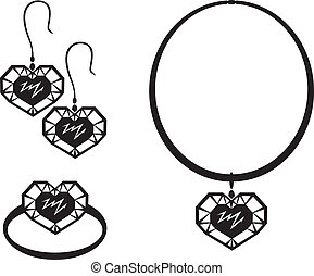Jewelry heart - Jewelry set with precious stones in the form...