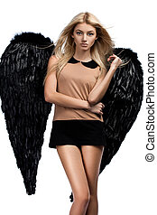 angel with black wings on white background