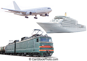 airplane, train and cruise ship - The image of airplane,...