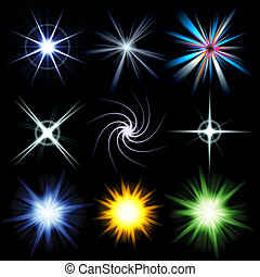 Bright Lens Flare Burst Pack - A collection of star bursts...