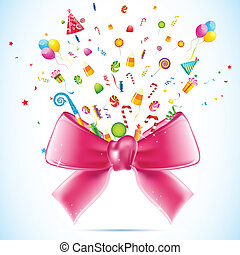 Party Blast - illustration of blasting candy and gift from...