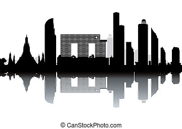 Bangkok skyline - black and white vector illustration