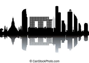 Bangkok skyline - black and white vector illustration