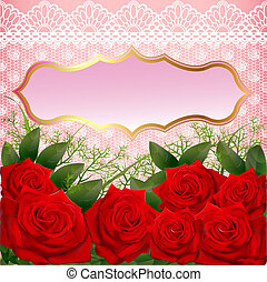 background with red roses and lace - illustration background...