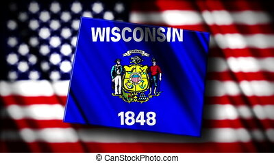 Wisconsin 03 - Flag of Wisconsin in the shape of Wisconsin...