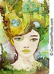 pretty girl - watercolor illustration of a portrait of a...