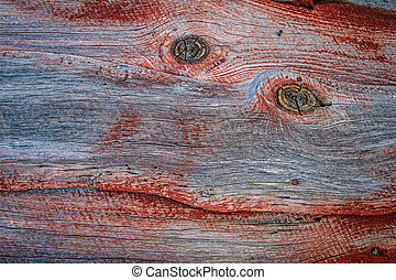 Barn Wood Texture 12 - Weathered barn wood shows worn red...
