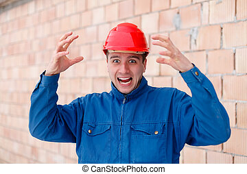 Mind blown - An angry construction worker having a funny...