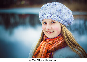 The girl in a white beret - teen girl wearing white beret...