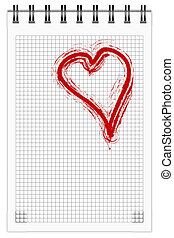 Note Book - Note book with red brush-painted heart. EPS10...