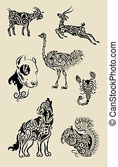 Animal decorative floral ornament - Animal sketch with...