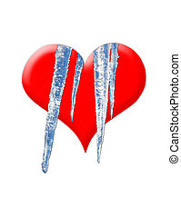 isolated red heart with cold icicles - the image of red...
