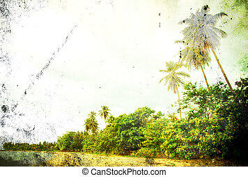 Retro beach and blue sky for background