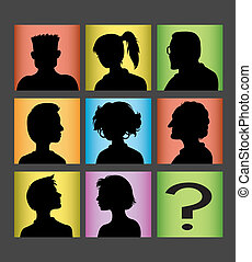 Avatars people silhouette vector - Male and female symbol in...