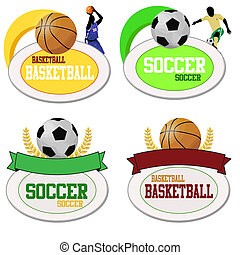Basketball and footballs icons isolated on white. Vector...