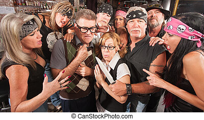 Nerd Couple Robbed by Gang - Motorcycle gang robbing...