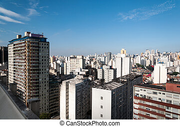 Aerial view of buildings in the city of sao paulo