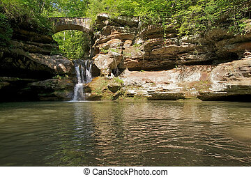 Waterfall in Woods - Bridge and Waterfall in Hocking Hills...