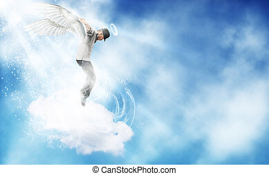 Dancing Angel in the sky - composition of afro amercian guy...